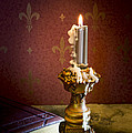 Gothic Scene With Candle And Gilt Edged Books by Wolf Kettler