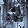 Gothic Surreal Cemetery Angel With Gargoyle And Bats by Kathy Fornal