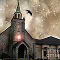 Gothic Surreal Haunted Church And Steeple With Crows And Ravens Flying  by Kathy Fornal