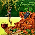 Gourmet Cover Featuring A Pig's Head On A Platter by Henry Stahlhut