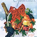 Gourmet Cover Illustration Of Holiday Fruit Basket by Henry Stahlhut