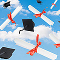 Graduation Caps And Scrolls by Amanda Elwell