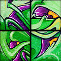 Graffiti In Green by Art Block Collections
