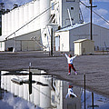 Grain Elevators And Child by Michael Moore