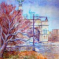Grand Army Plaza With Lamppost And Tree by Nancy Wait
