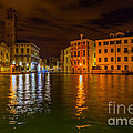 Grand Canal In Venice At Night by Paul Cowan
