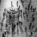 Grand Central Terminal Clock Birds Eye View II Bw by Susan Candelario