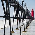 Grand Haven Lighthouse Pier In Winter by Kirsten Dykstra