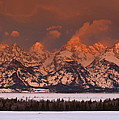 Grand Teton Winter Sunrise  by Stephen  Vecchiotti