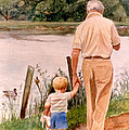 Little Boy And Grandpa In Park by Phyllis Tarlow