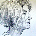 Portrait Drawing Of A Woman In Profile by Greta Corens