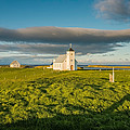 Grasslands And Flatey Church, Flatey by Panoramic Images