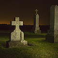 Gravestones At Night Painted With Light by Jean Noren
