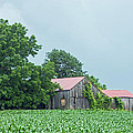 Gray Sky - Red Roofed Barn - Green Fields by Photographic Arts And Design Studio