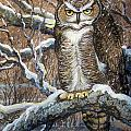 Great Horned Owl Another Storm by Anne Shoemaker-Magdaleno