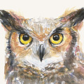 Great Horned Owl Watercolor by Olga Shvartsur