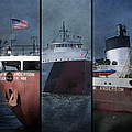 Great Lakes Freighter Triptych Arthur M Anderson by Evie Carrier