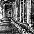 Great Northern Railroad Snow Shed - Black And White by Mark Kiver