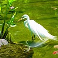 Great White Egret Bird With Deer And Fish In Lake  by Susanna Katherine