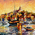 Greek Day - Palette Knife Oil Painting On Canvas By Leonid Afremov by Leonid Afremov