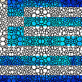 Greek Flag - Greece Stone Rock'd Art By Sharon Cummings by Sharon Cummings