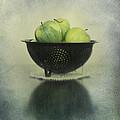 Green Apples In An Old Enamel Colander by Priska Wettstein