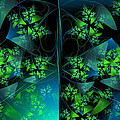 Green Blue And Black Abstract Fractal Art by Matthias Hauser