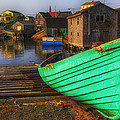 Green Boat Peggys Cove by Garry Gay