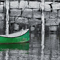 Green Dinghy Floating by Jeff Folger