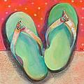 Green Flip Flops by Jen Norton
