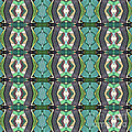 Green Geometric Abstract Pattern by Phil Perkins