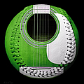 Green Guitar Baseball White Laces Square by Andee Design