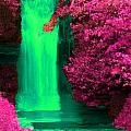 Green Irish Waterfall Surrounded By Pink by Bruce Nutting