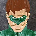 Green Lantern Superhero Portrait Recycled License Plate Art by Design Turnpike