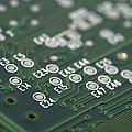 Green Printed Circuit Board Closeup by Matthias Hauser