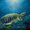 Green Sea Turtle by Fineartist Ellen