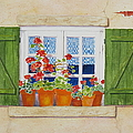 Green Shutters With Red Flowers by Mary Ellen Mueller Legault