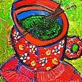 Green Tea In Red Cup by Ana Maria Edulescu