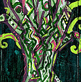Green Tree With Pink Watercolor by Genevieve Esson