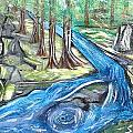Green Trees With Rocks And River by Suzanne Surber