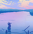 Greeting Card People Canoeing To Camp Sunset Landscape by Walt Curlee
