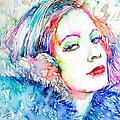 Greta Garbo - Colored Pens Portrait by Fabrizio Cassetta