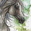 Grey Arabian Horse Watercolor Painting 1 by Angel Ciesniarska