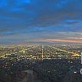 Griffith Observatory L.a. Skyline Dusk Lit Beautiful by David Zanzinger