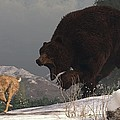 Grizzly Bear Chasing Rabbit by Daniel Eskridge