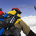 Group Heli Skiing, Helicopter Taking by Gabe Rogel