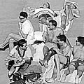 Group Of Men Sunbathing by Underwood Archives