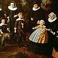 Group Portrait Of Three Generations Of A Family In The Grounds Of A Country House Oil On Canvas by Dirck Santvoort