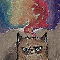 Grumpy Cat And Her Colorful Dreams by Angel Ciesniarska