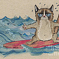 Grumpy Cat Surfing by Angel Ciesniarska